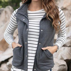 Grace & Lace Knit Puffer Vest in Charcoal